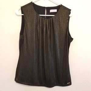 Calvin Klein Gold Sparkle Pleated Front Top A10